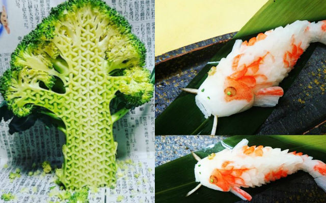 japanese artist uses traditional art of fruit and vegetable carving