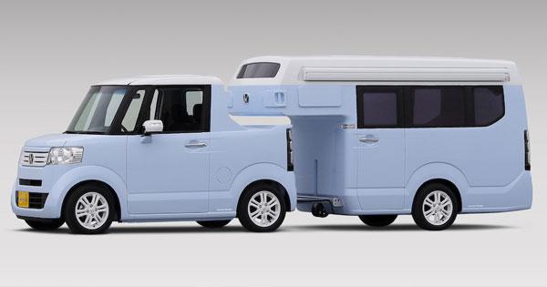 自動車メーカーのホンダが、軽自動車のN,BOXをベースとした軽ピックアップ「N,TRUNK」とキャンピングトレーラーの「N,CAMP」を、2月13日から開催される「ジャパン・