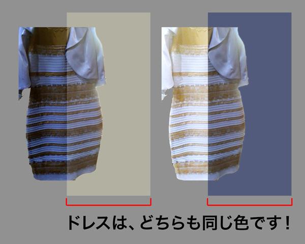 こちらも、ドレスの黄色の マスクと青のマスクが被っている部分は全く同じ色の画像ですが、違って見えますね。 いかがでしょう?スッキリしましたか?