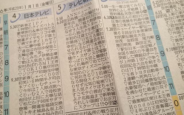 1月1日、新聞のテレビ欄を見た人...