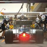 Crew members wait to perform a pit stop on the car of Williams driver Felipe Massa of Brazil during the second practice session for the Chinese Formula One Grand Prix at the Shanghai International Circuit, in China, Friday, April 15, 2016.  (AP Photo/Mark Schiefelbein)