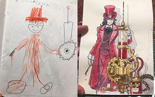 息子のイラストを元にプロのパパが本気で描いたらスゴイのが出来た