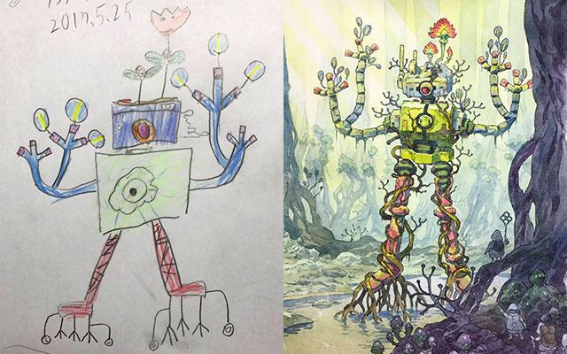 息子のイラストを元にプロのパパが本気で描いたらスゴイのができた