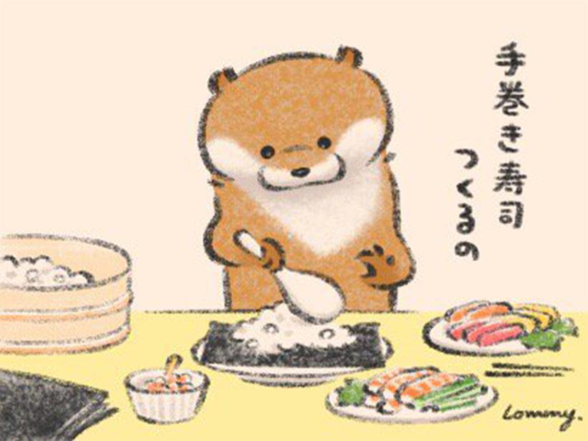 手巻き寿司を作るカワウソ 欲張りすぎてhellip オチの絵に