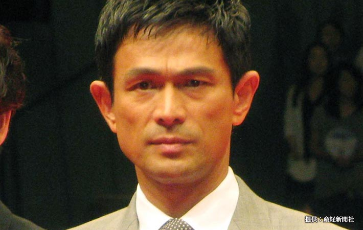 映画「天空の蜂」の完成披露試写会に参加した俳優の江口洋介