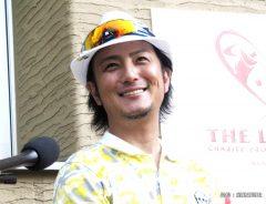 千葉・佐倉市の麻倉ゴルフ倶楽部で行われたゴルフのチャリティー大会「ザ・レジェンド・チャリティプロアマトーナメント」に出場した俳優、タレントの上地雄輔。