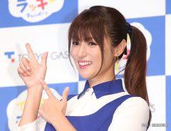 東京ガス新CM発表会 フォトセッションでポーズをとる女優の深田恭子さん