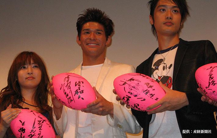 映画『スクール・ウォーズ HERO』完成披露試写会 (左から)SAYAKA、照英、内田朝陽 2004年