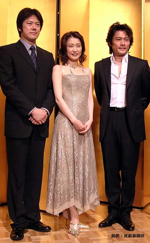 左から山口祐一郎、一路真輝、内野聖陽 2004年