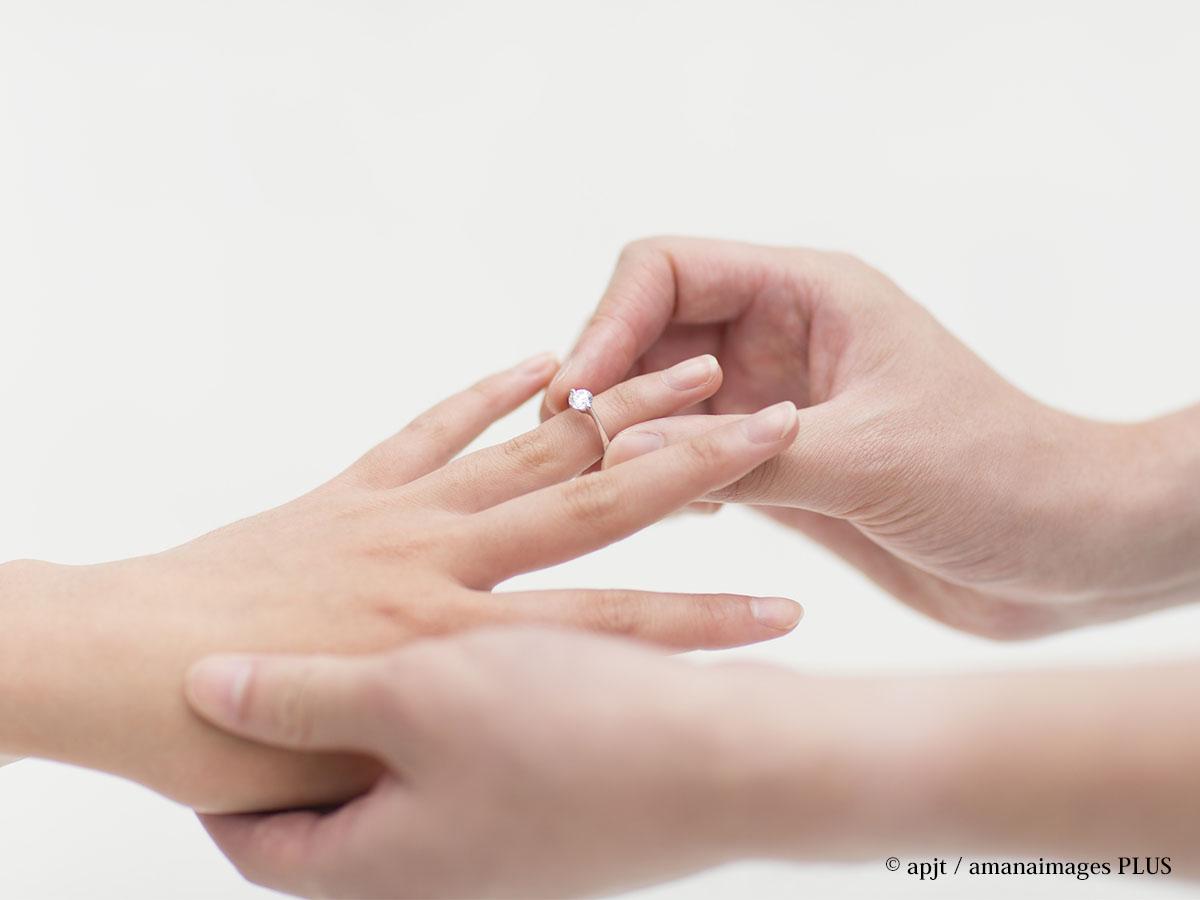 婚約指輪をはめるイメージ写真